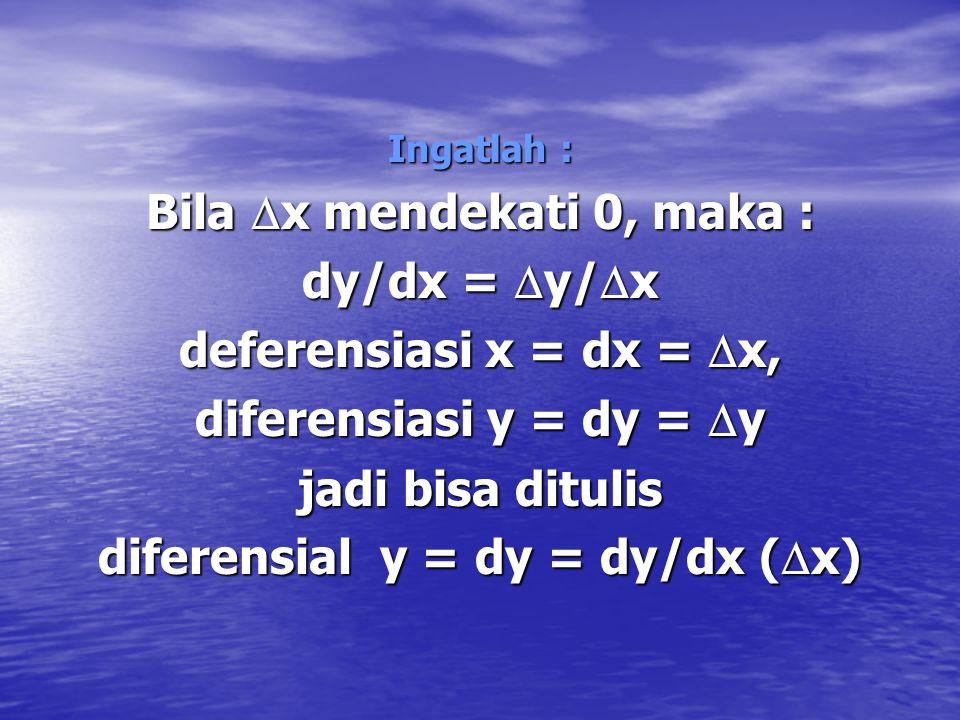untuk kasus diferensiasi ini dijelaskan bahwa bila perubahan Y sangat kecil sekali hingga batasnya (limit) mendekati 0, maka  C/  Y = MPC, berbeda h