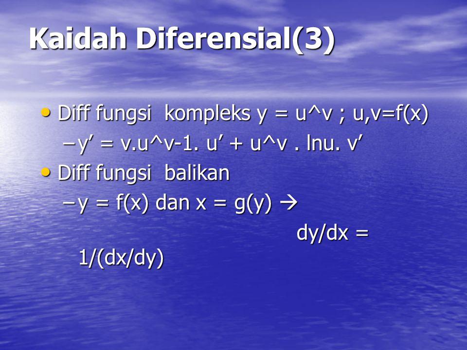 Kaidah Diferensial(2) Diff pembagian fungsi y = u/v Diff pembagian fungsi y = u/v –y' = (v u' + u v') / v² Diff fungsi berpangkat y = u^n, u=f(x) Diff