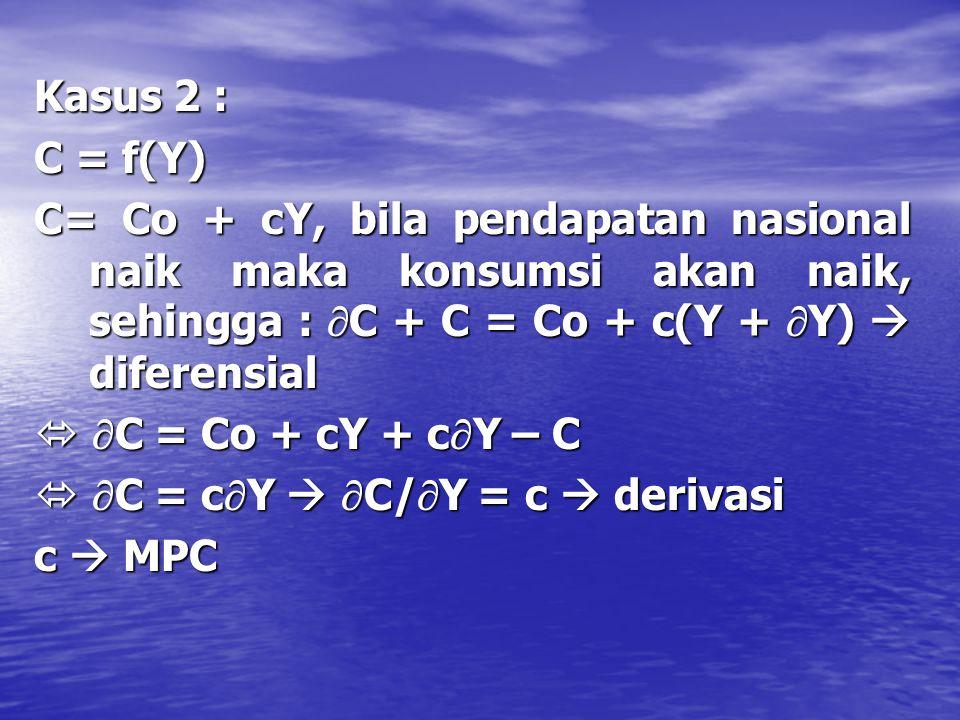 A. Hakekat Derivatif & Diferensial Kasus 1 : Kasus 1 : Y = C + S, bila pendapatan nasional naikmaka konsumsi dan tabungan akan naik, sehingga : DY = (