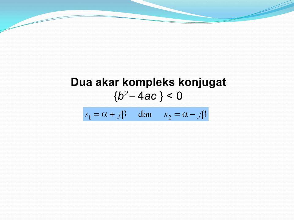 Dua akar kompleks konjugat {b 2  4ac } < 0