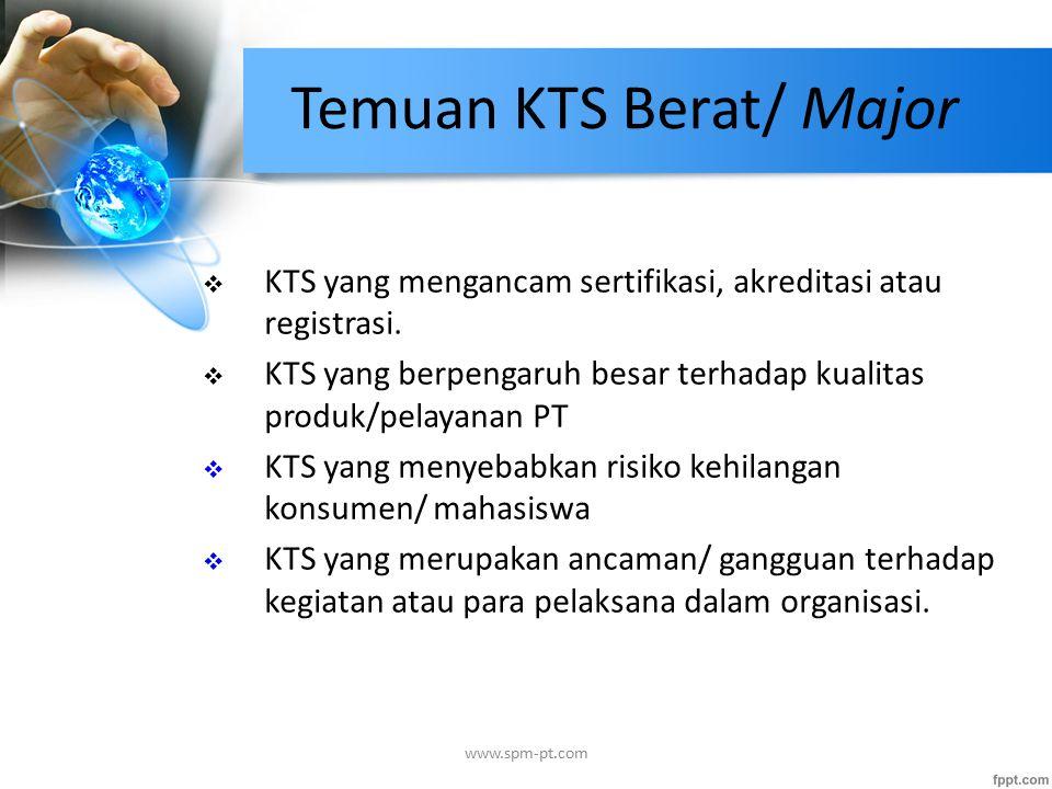 Temuan KTS Berat/ Major  KTS yang mengancam sertifikasi, akreditasi atau registrasi.  KTS yang berpengaruh besar terhadap kualitas produk/pelayanan