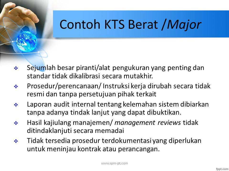 Contoh KTS Berat /Major  Sejumlah besar piranti/alat pengukuran yang penting dan standar tidak dikalibrasi secara mutakhir.  Prosedur/perencanaan/ I