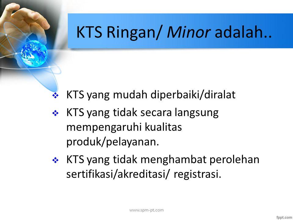 KTS Ringan/ Minor adalah..  KTS yang mudah diperbaiki/diralat  KTS yang tidak secara langsung mempengaruhi kualitas produk/pelayanan.  KTS yang tid