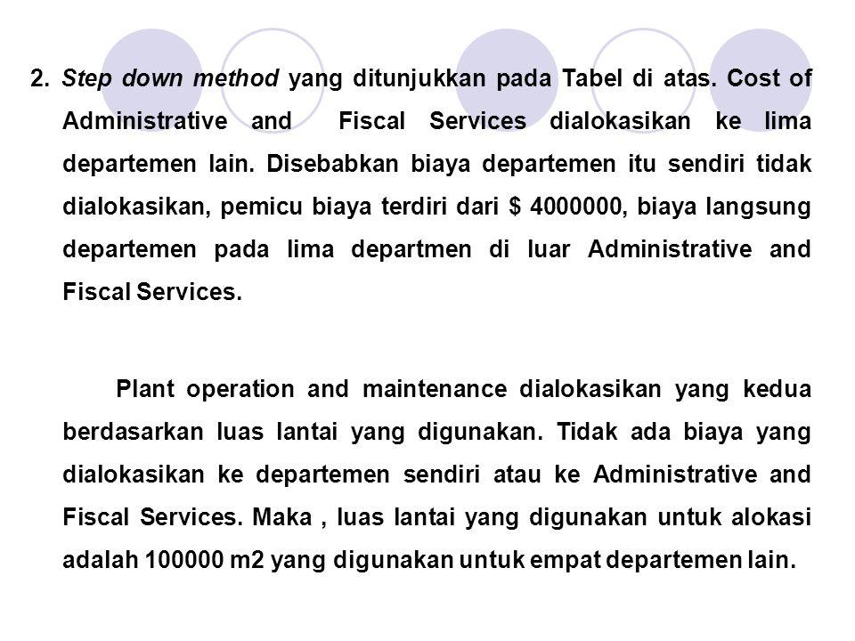 2. Step down method yang ditunjukkan pada Tabel di atas. Cost of Administrative and Fiscal Services dialokasikan ke lima departemen lain. Disebabkan b