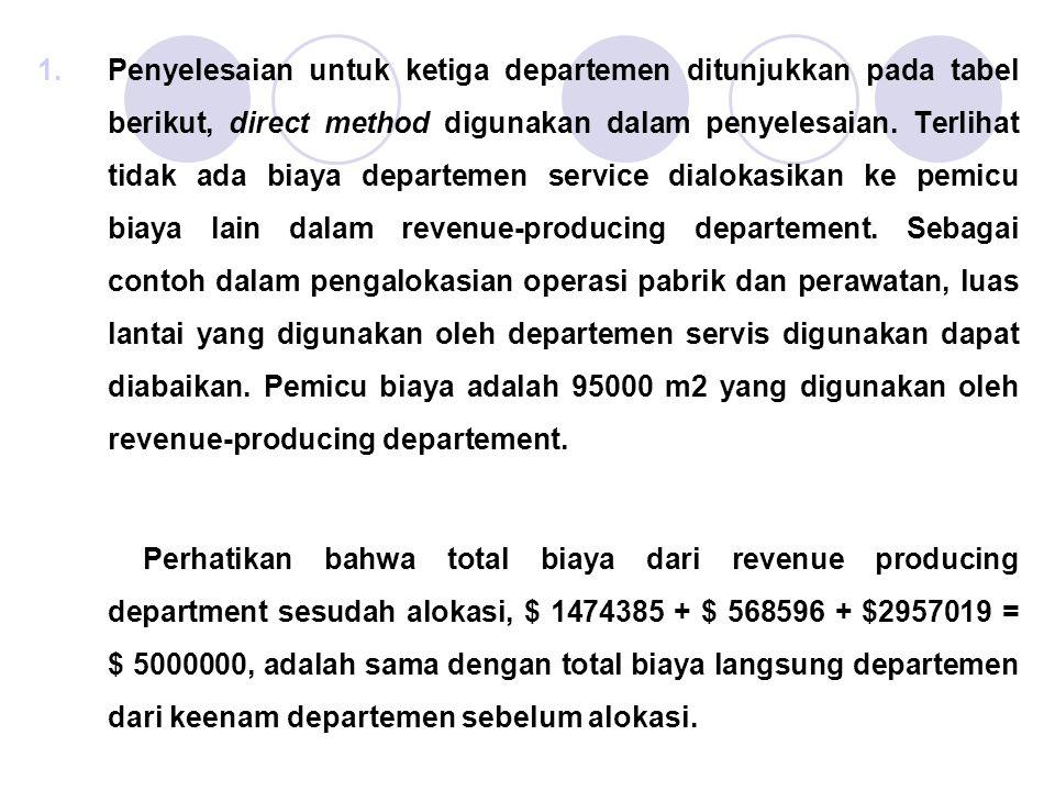 1.Penyelesaian untuk ketiga departemen ditunjukkan pada tabel berikut, direct method digunakan dalam penyelesaian. Terlihat tidak ada biaya departemen