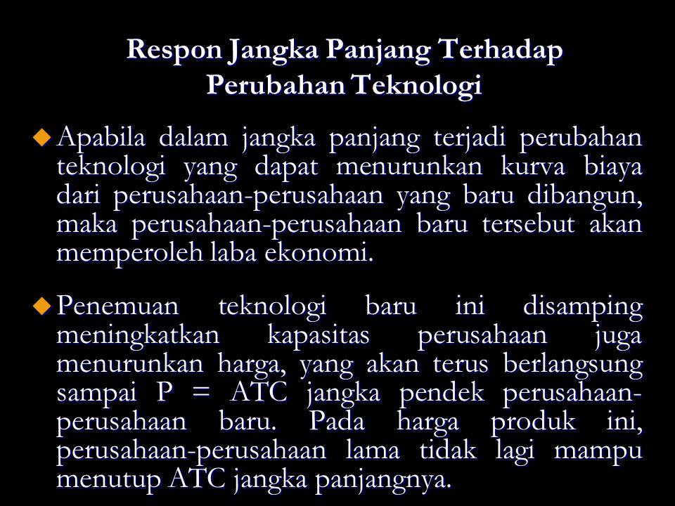Respon Jangka Panjang Terhadap Perubahan Teknologi u Apabila dalam jangka panjang terjadi perubahan teknologi yang dapat menurunkan kurva biaya dari p