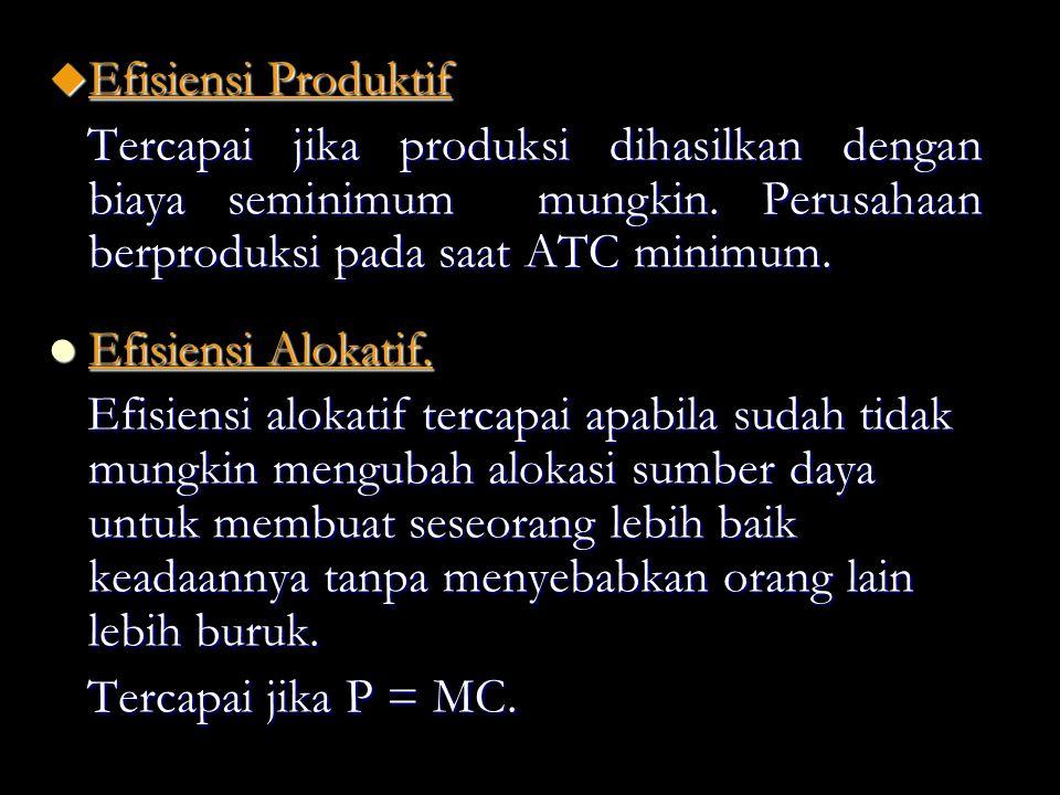 u Efisiensi Produktif Tercapai jika produksi dihasilkan dengan biaya seminimum mungkin. Perusahaan berproduksi pada saat ATC minimum. Efisiensi Alokat
