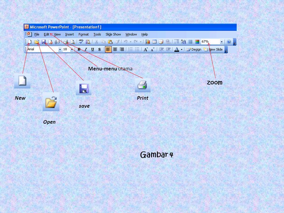 New Print save Open Menu-menu utama zoom Gambar 4
