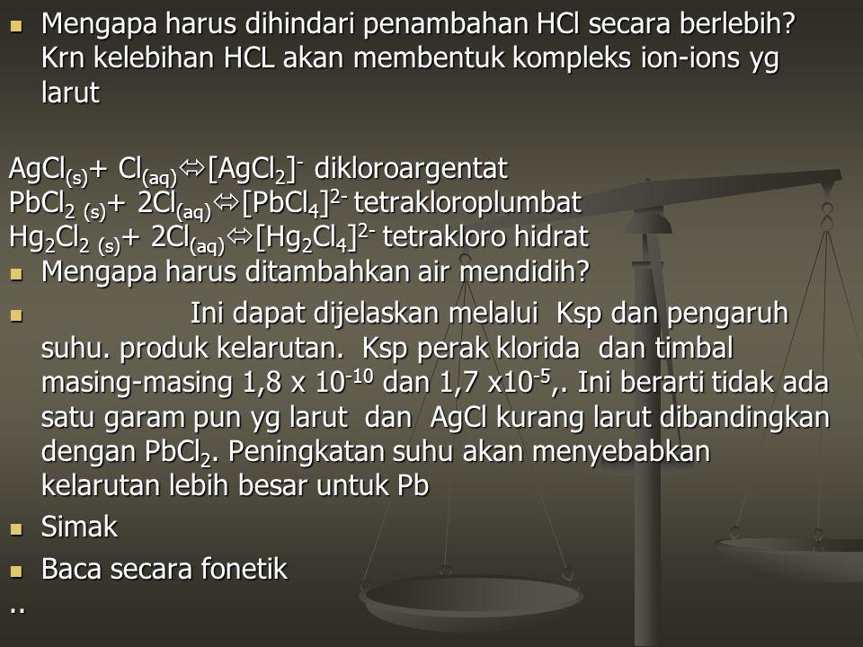 Mengapa harus dihindari penambahan HCl secara berlebih? Krn kelebihan HCL akan membentuk kompleks ion-ions yg larut Mengapa harus dihindari penambahan