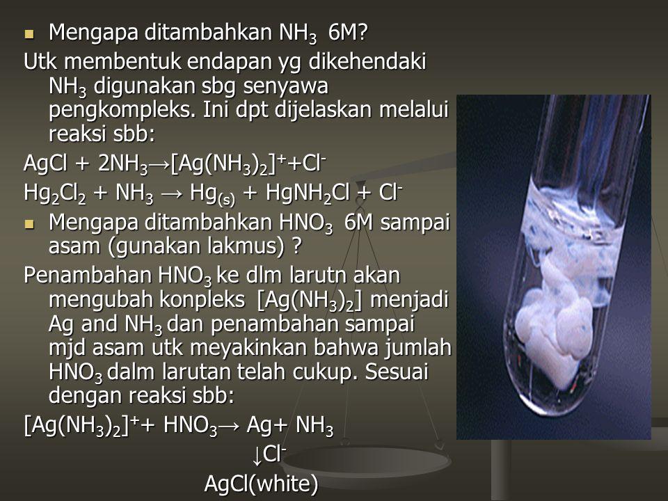 Mengapa ditambahkan NH 3 6M? Mengapa ditambahkan NH 3 6M? Utk membentuk endapan yg dikehendaki NH 3 digunakan sbg senyawa pengkompleks. Ini dpt dijela