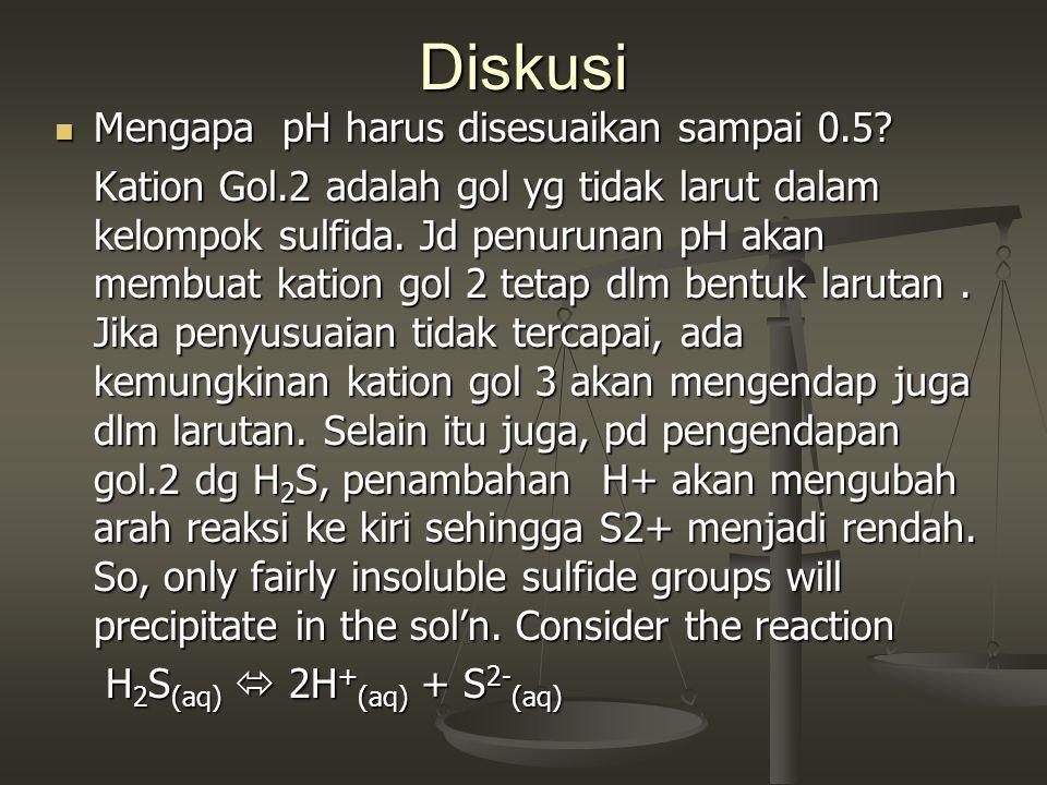 Diskusi Mengapa pH harus disesuaikan sampai 0.5? Mengapa pH harus disesuaikan sampai 0.5? Kation Gol.2 adalah gol yg tidak larut dalam kelompok sulfid