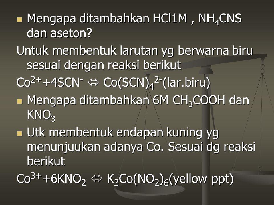 Mengapa ditambahkan HCl1M, NH 4 CNS dan aseton? Mengapa ditambahkan HCl1M, NH 4 CNS dan aseton? Untuk membentuk larutan yg berwarna biru sesuai dengan