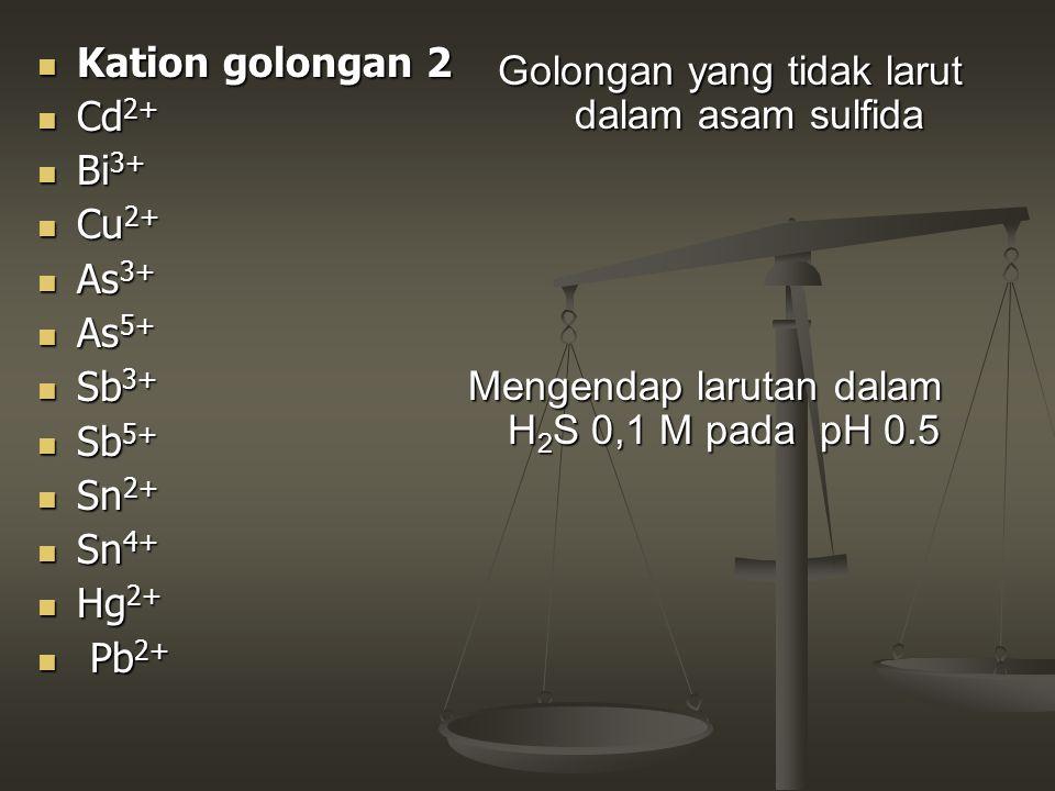 Kation golongan 2 Kation golongan 2 Cd 2+ Cd 2+ Bi 3+ Bi 3+ Cu 2+ Cu 2+ As 3+ As 3+ As 5+ As 5+ Sb 3+ Sb 3+ Sb 5+ Sb 5+ Sn 2+ Sn 2+ Sn 4+ Sn 4+ Hg 2+