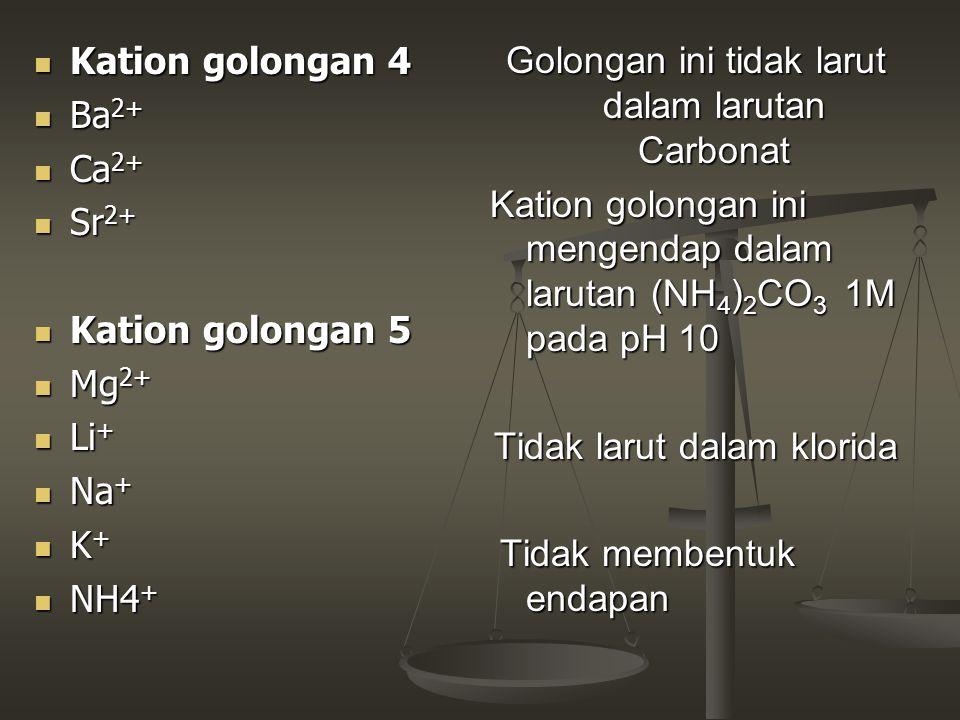 Kation golongan 4 Kation golongan 4 Ba 2+ Ba 2+ Ca 2+ Ca 2+ Sr 2+ Sr 2+ Kation golongan 5 Kation golongan 5 Mg 2+ Mg 2+ Li + Li + Na + Na + K + K + NH