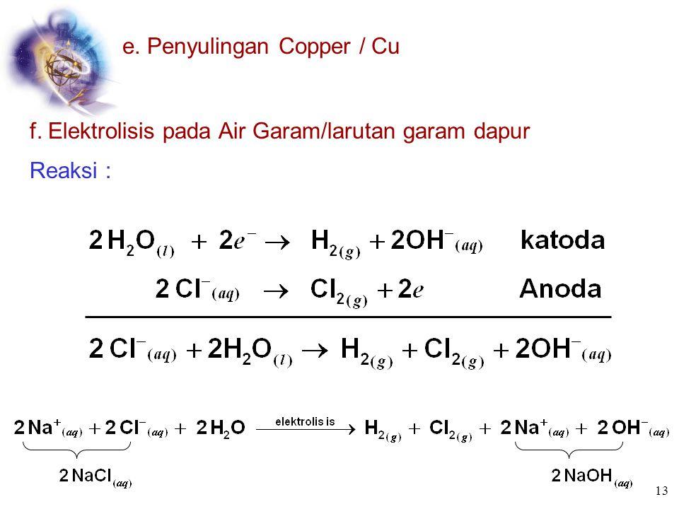 c. Produksi Magnesium Reaksi : d. Produksi Natrium 12