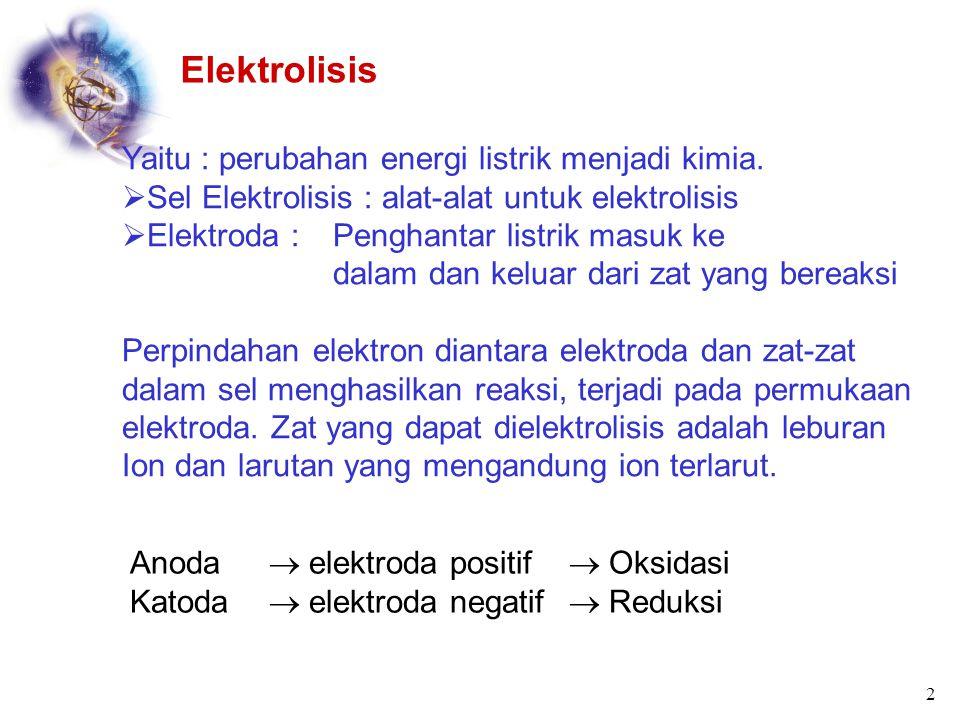 ELEKTROKIMIA Listrik (Kelistrikan) dan Perubahan Kimia Reaksi reduksi – oksidasi terjadi pada beberapa sistem kimia. Misalnya pada pengkaratan besi, p