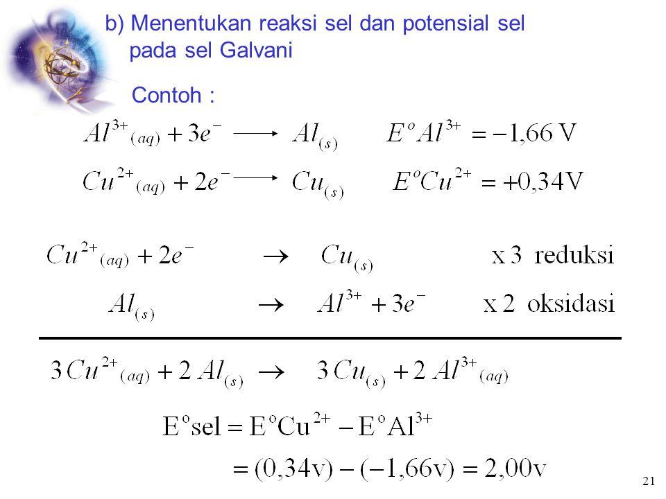 Potensial sel dan Termodinamika -  G = Kerja Maximum a) Menentukan perubahan  Energi bebas dari potensial sel Kerja max = -n F E sel n = mol e -  