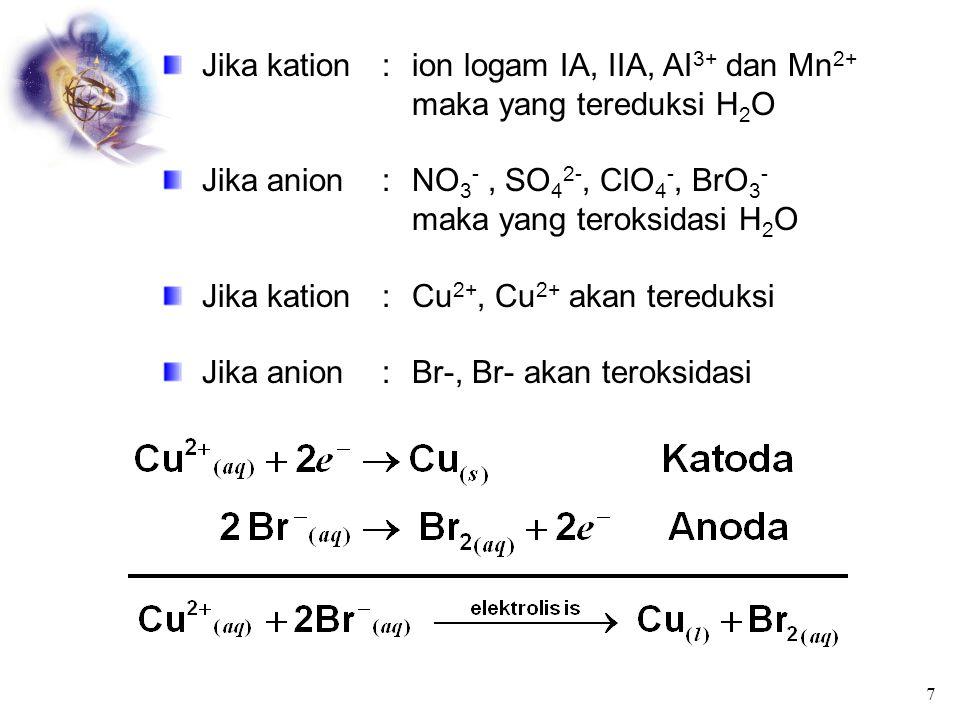 elektolisis 2(g) 22 2 2 - 22 - 22 22 - 3 3 O2 2H O O4H O24OH 4H 2H O6H /x2 2OH H 2 O2H : Katoda 4 4H O O2H : Anoda NO K KNO        