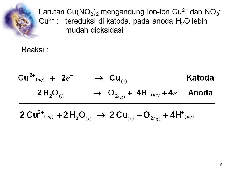 Jika kation: ion logam IA, IIA, AI 3+ dan Mn 2+ maka yang tereduksi H 2 O Jika anion : NO 3 -, SO 4 2-, ClO 4 -, BrO 3 - maka yang teroksidasi H 2 O J