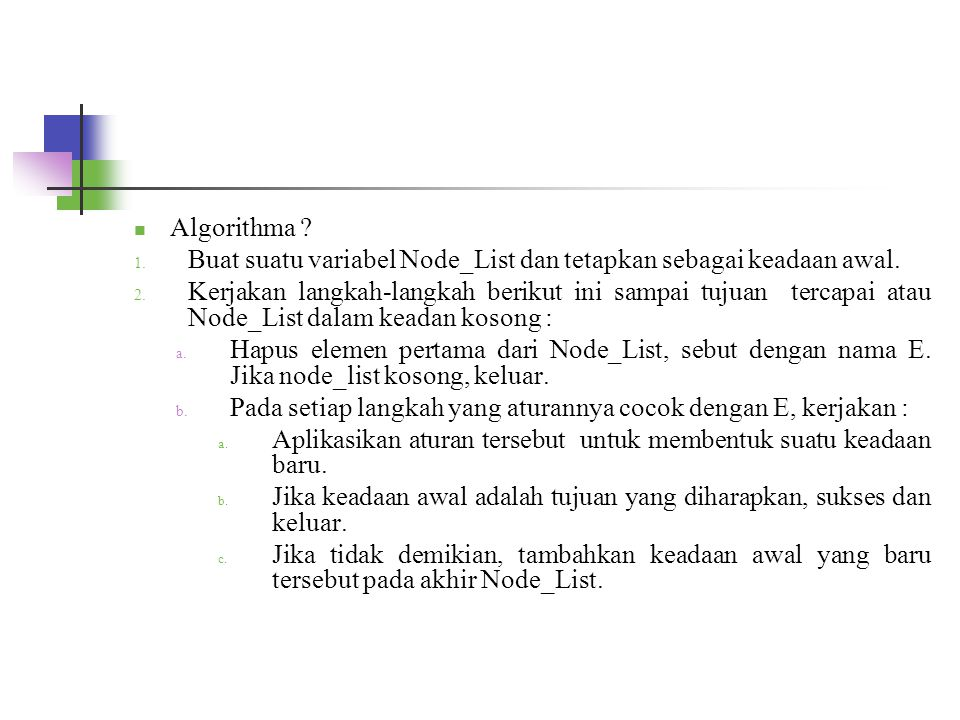 Algorithma ? 1. Buat suatu variabel Node_List dan tetapkan sebagai keadaan awal. 2. Kerjakan langkah-langkah berikut ini sampai tujuan tercapai atau N