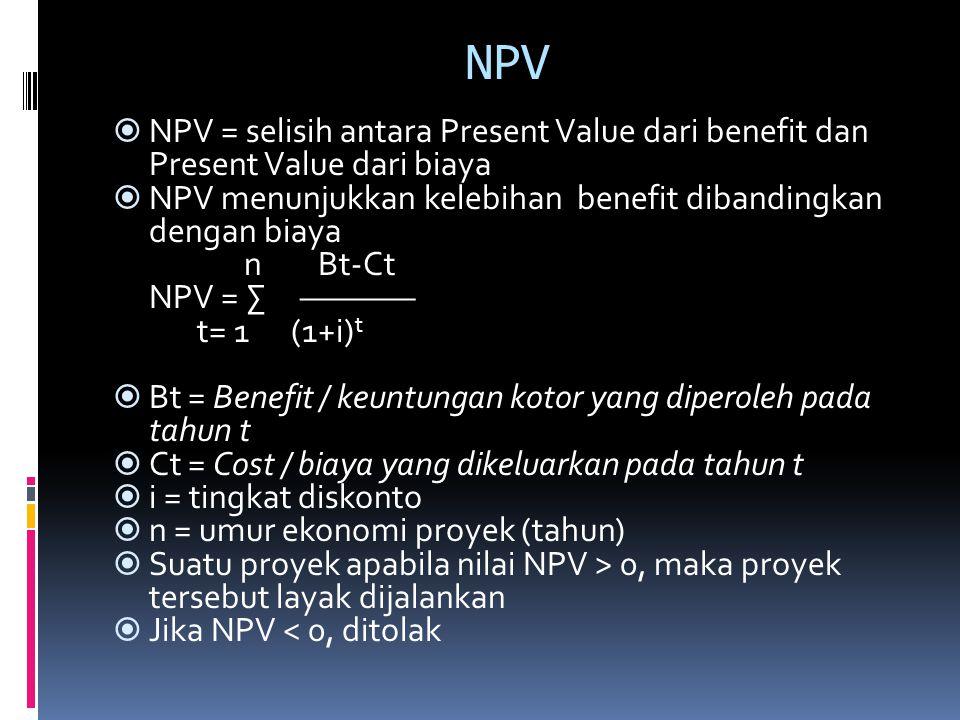 NPV  NPV = selisih antara Present Value dari benefit dan Present Value dari biaya  NPV menunjukkan kelebihan benefit dibandingkan dengan biaya n Bt-