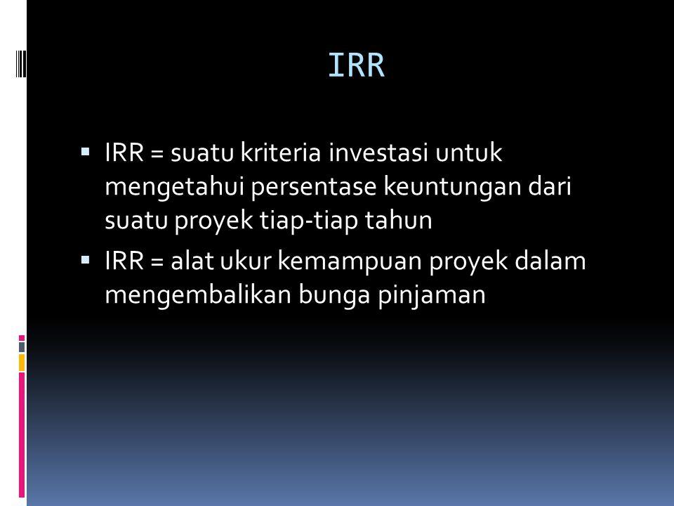 IRR  IRR = suatu kriteria investasi untuk mengetahui persentase keuntungan dari suatu proyek tiap-tiap tahun  IRR = alat ukur kemampuan proyek dalam mengembalikan bunga pinjaman