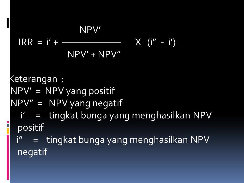 NPV' IRR = i' + ——————— X (i - i') NPV' + NPV Keterangan : NPV' = NPV yang positif NPV = NPV yang negatif i' = tingkat bunga yang menghasilkan NPV positif i = tingkat bunga yang menghasilkan NPV negatif