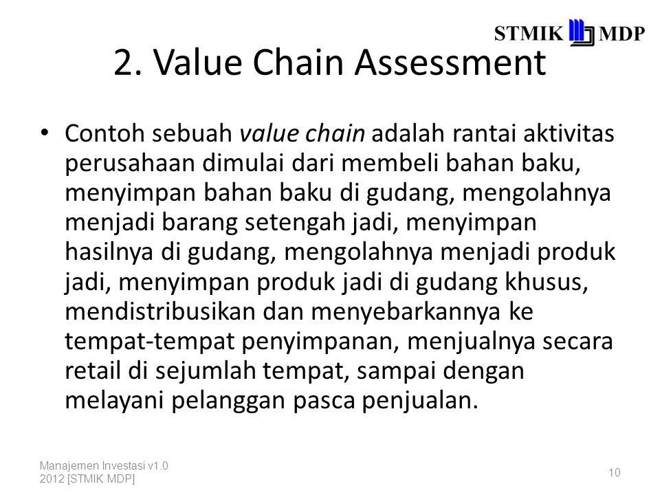 2. Value Chain Assessment Contoh sebuah value chain adalah rantai aktivitas perusahaan dimulai dari membeli bahan baku, menyimpan bahan baku di gudang