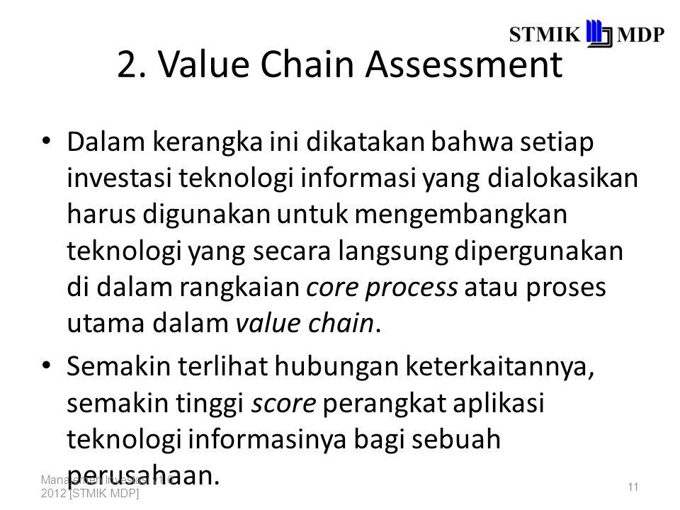 2. Value Chain Assessment Dalam kerangka ini dikatakan bahwa setiap investasi teknologi informasi yang dialokasikan harus digunakan untuk mengembangka