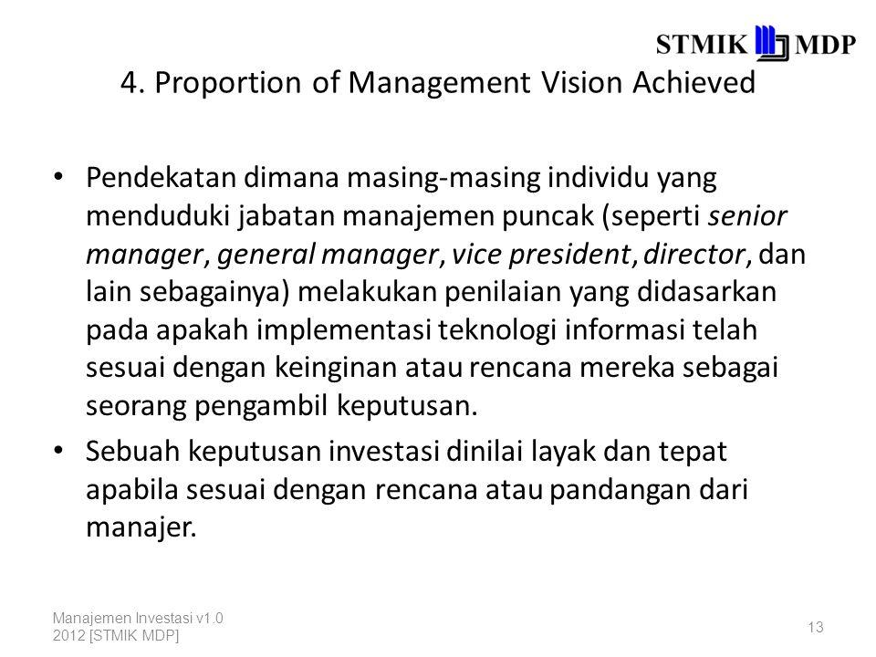 4. Proportion of Management Vision Achieved Pendekatan dimana masing-masing individu yang menduduki jabatan manajemen puncak (seperti senior manager,