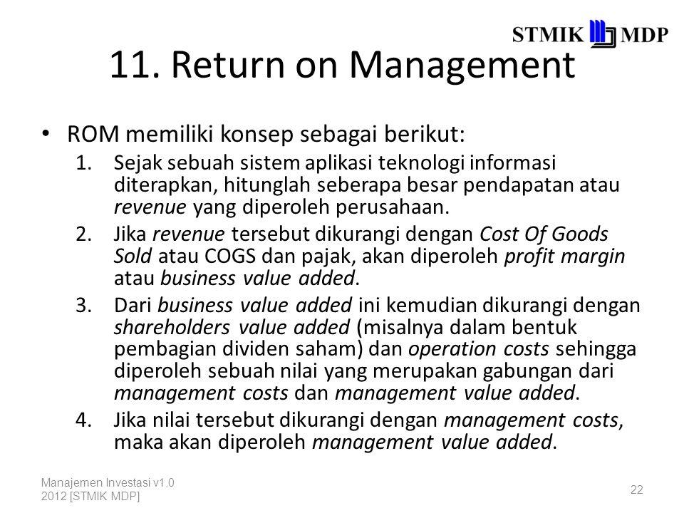 11. Return on Management ROM memiliki konsep sebagai berikut: 1.Sejak sebuah sistem aplikasi teknologi informasi diterapkan, hitunglah seberapa besar