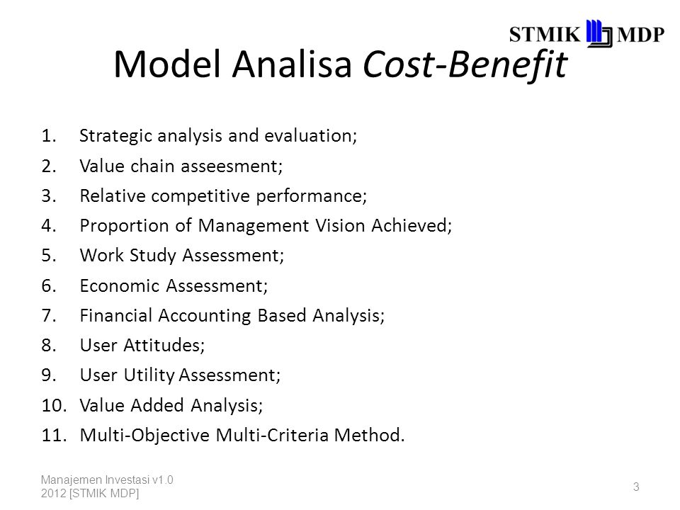 Model Analisa Cost-Benefit 1.Strategic analysis and evaluation; 2.Value chain asseesment; 3.Relative competitive performance; 4.Proportion of Manageme