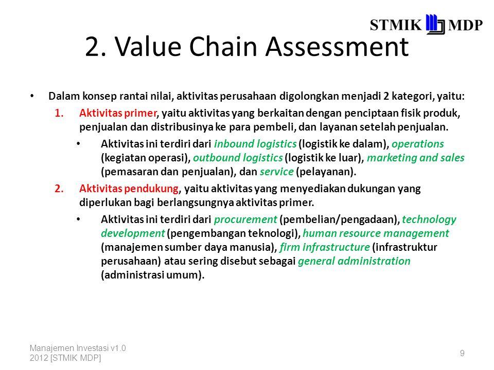 2. Value Chain Assessment Dalam konsep rantai nilai, aktivitas perusahaan digolongkan menjadi 2 kategori, yaitu: 1.Aktivitas primer, yaitu aktivitas y