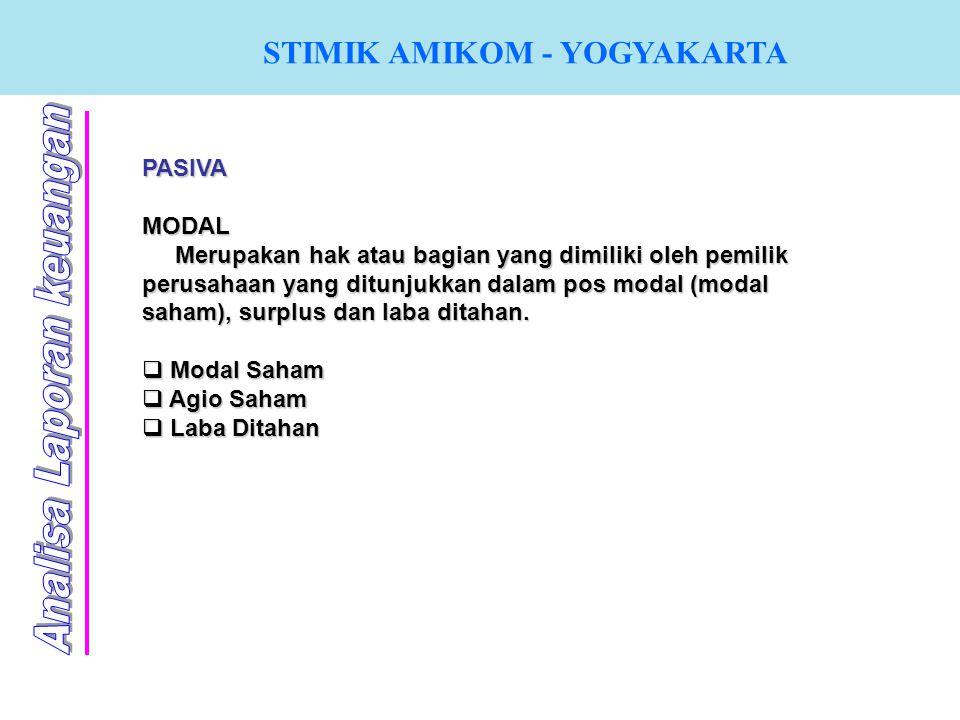 STIMIK AMIKOM - YOGYAKARTA PASIVA MODAL Merupakan hak atau bagian yang dimiliki oleh pemilik perusahaan yang ditunjukkan dalam pos modal (modal saham)