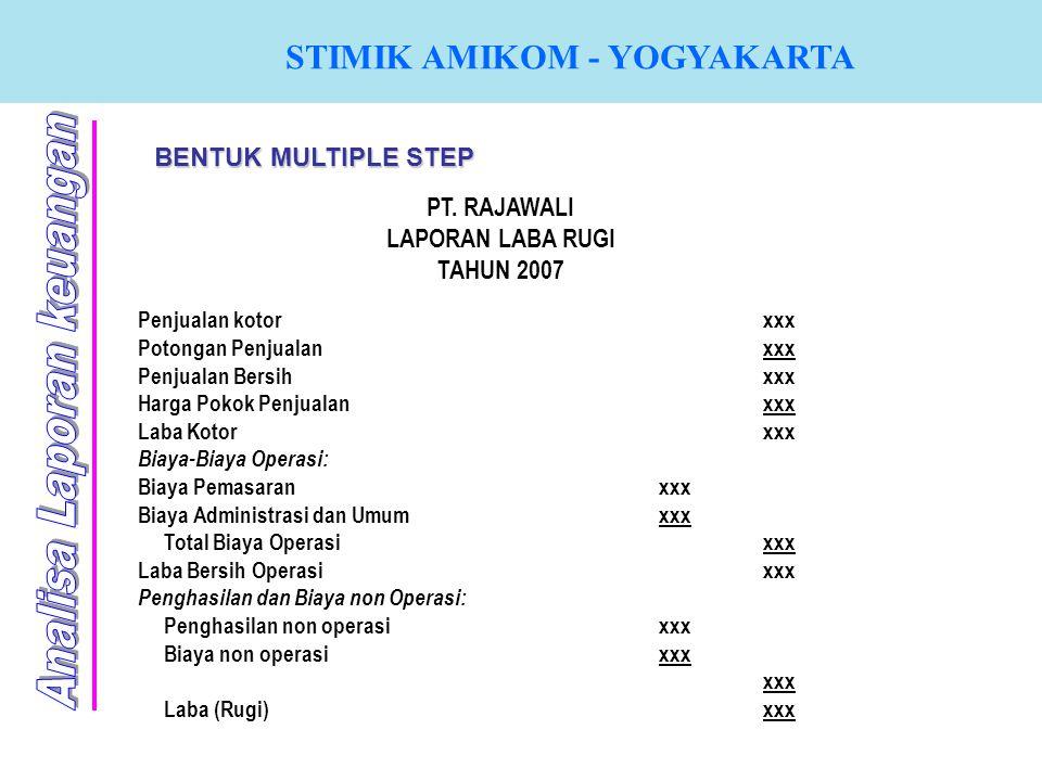 STIMIK AMIKOM - YOGYAKARTA BENTUK MULTIPLE STEP PT. RAJAWALI LAPORAN LABA RUGI TAHUN 2007 Penjualan kotorxxx Potongan Penjualanxxx Penjualan Bersihxxx