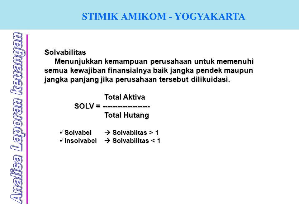STIMIK AMIKOM - YOGYAKARTA Solvabilitas Menunjukkan kemampuan perusahaan untuk memenuhi semua kewajiban finansialnya baik jangka pendek maupun jangka