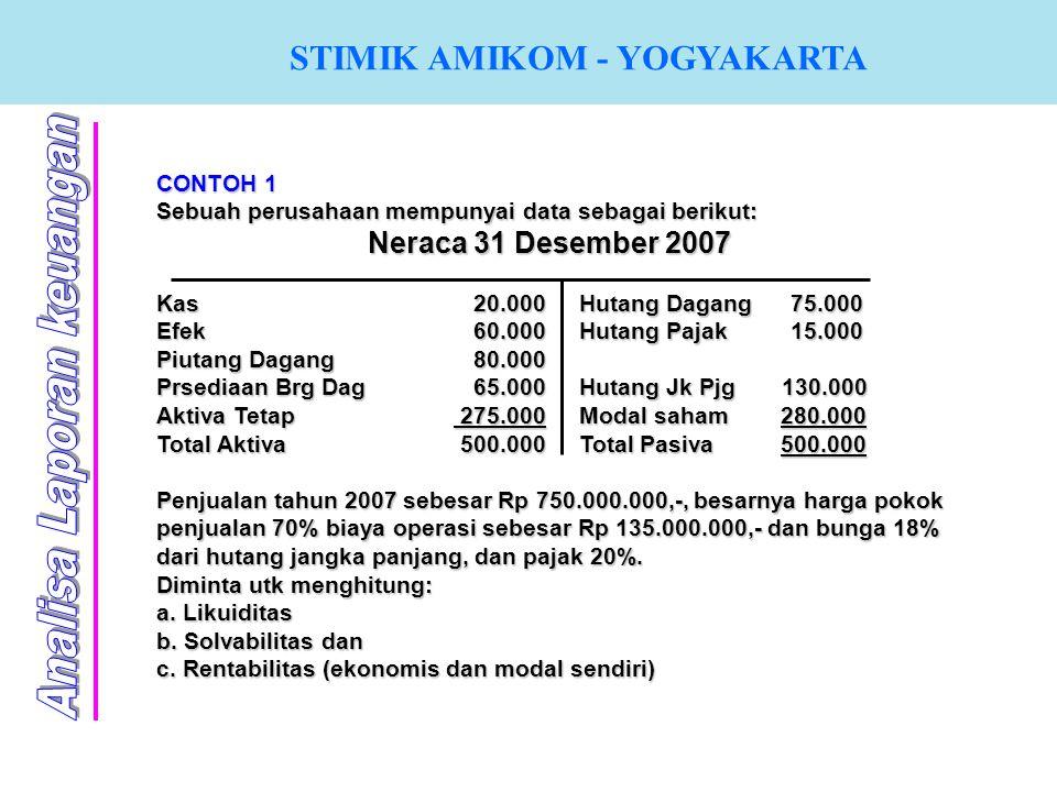 STIMIK AMIKOM - YOGYAKARTA CONTOH 1 Sebuah perusahaan mempunyai data sebagai berikut: Neraca 31 Desember 2007 Kas20.000Hutang Dagang75.000 Efek60.000H