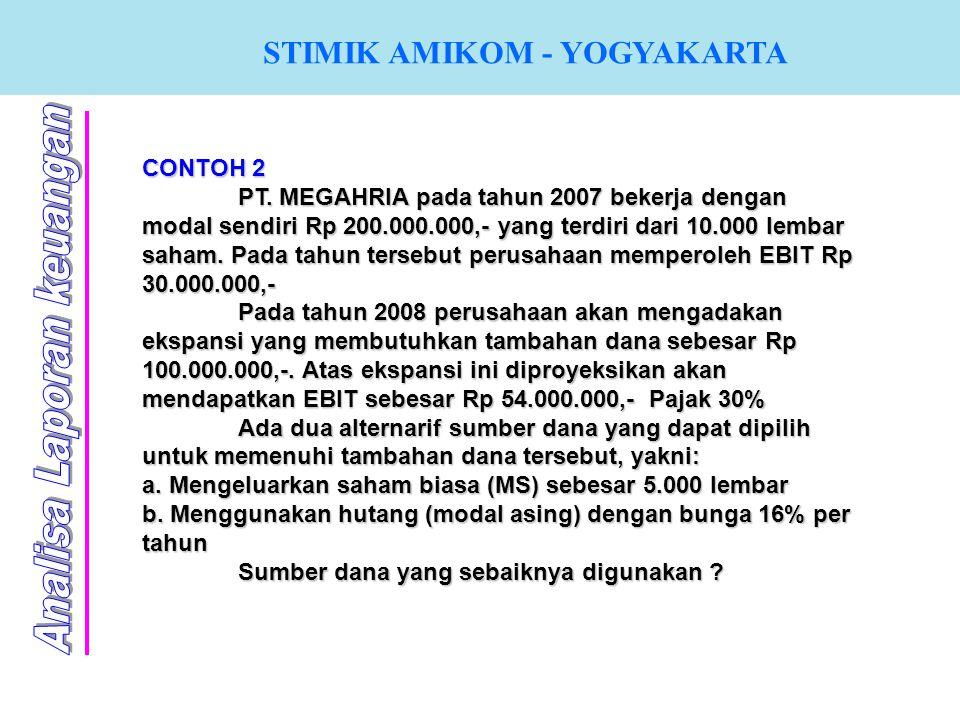 CONTOH 2 PT. MEGAHRIA pada tahun 2007 bekerja dengan modal sendiri Rp 200.000.000,- yang terdiri dari 10.000 lembar saham. Pada tahun tersebut perusah
