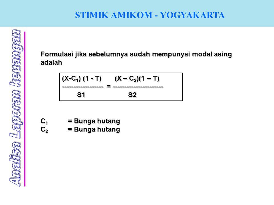 STIMIK AMIKOM - YOGYAKARTA Formulasi jika sebelumnya sudah mempunyai modal asing adalah (X-C 1 ) (1 - T) (X – C 2 )(1 – T) ------------------ = ------