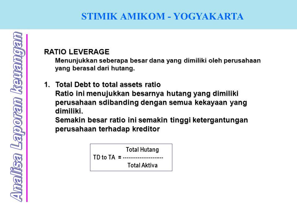 STIMIK AMIKOM - YOGYAKARTA RATIO LEVERAGE Menunjukkan seberapa besar dana yang dimiliki oleh perusahaan yang berasal dari hutang. 1.T otal Debt to tot