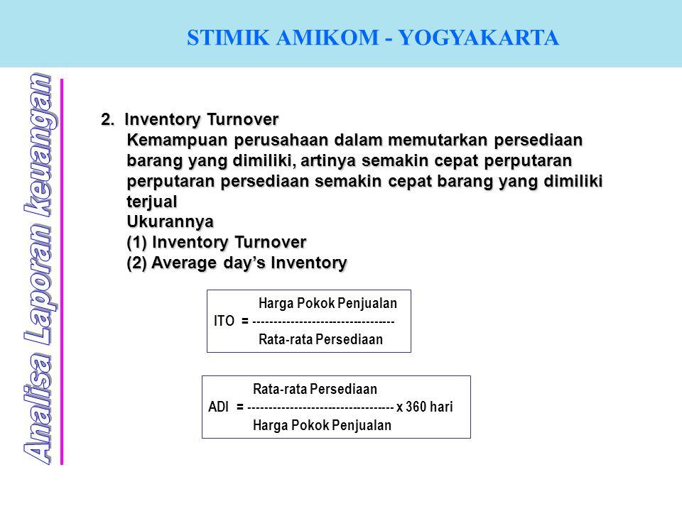 STIMIK AMIKOM - YOGYAKARTA 2. Inventory Turnover Kemampuan perusahaan dalam memutarkan persediaan barang yang dimiliki, artinya semakin cepat perputar