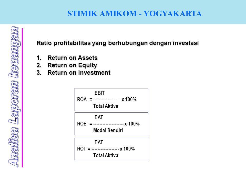 STIMIK AMIKOM - YOGYAKARTA Ratio profitabilitas yang berhubungan dengan investasi 1. R eturn on Assets 2. R eturn on Equity 3. R eturn on Investment E