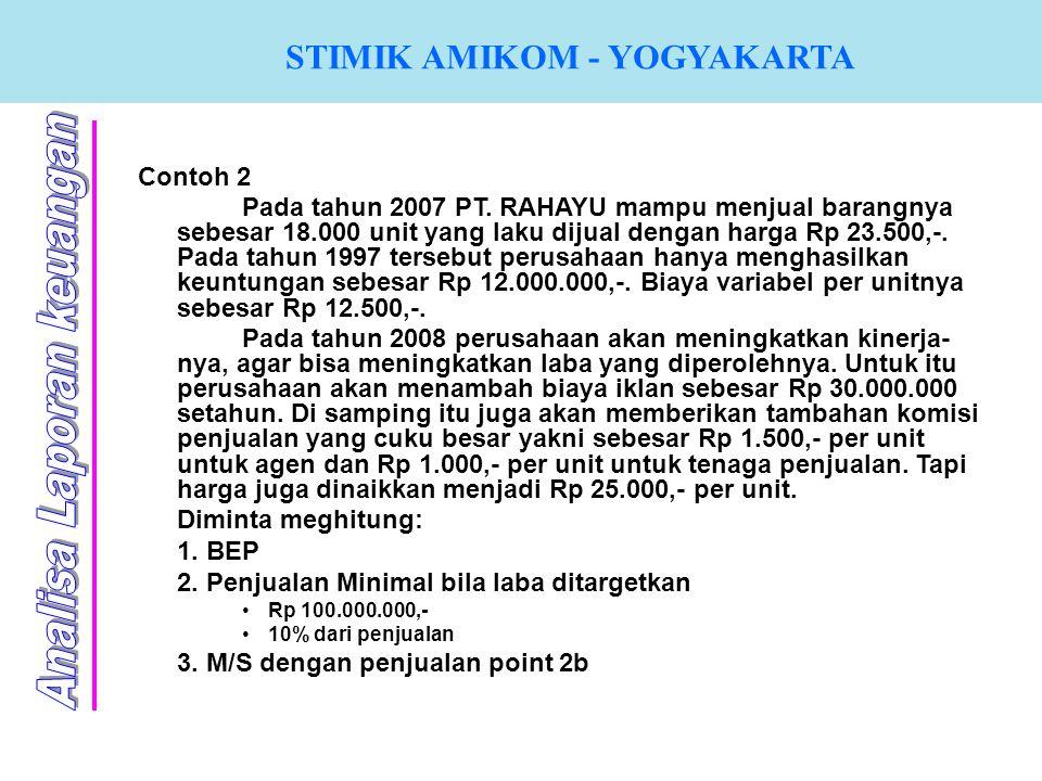 STIMIK AMIKOM - YOGYAKARTA Contoh 2 Pada tahun 2007 PT. RAHAYU mampu menjual barangnya sebesar 18.000 unit yang laku dijual dengan harga Rp 23.500,-.