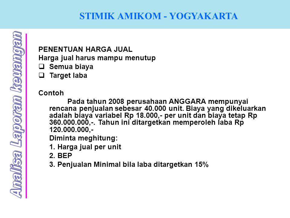 STIMIK AMIKOM - YOGYAKARTA PENENTUAN HARGA JUAL Harga jual harus mampu menutup  Semua biaya  Target laba Contoh Pada tahun 2008 perusahaan ANGGARA m