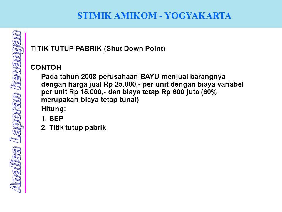 STIMIK AMIKOM - YOGYAKARTA TITIK TUTUP PABRIK (Shut Down Point) CONTOH Pada tahun 2008 perusahaan BAYU menjual barangnya dengan harga jual Rp 25.000,-