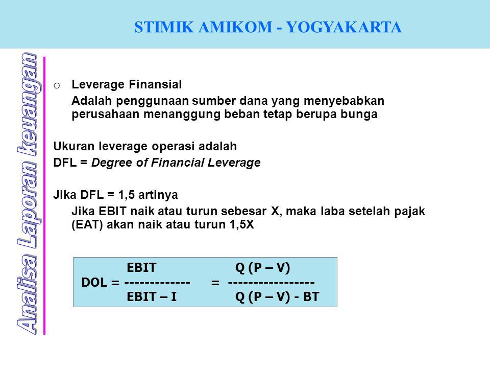 STIMIK AMIKOM - YOGYAKARTA o Leverage Finansial Adalah penggunaan sumber dana yang menyebabkan perusahaan menanggung beban tetap berupa bunga Ukuran l