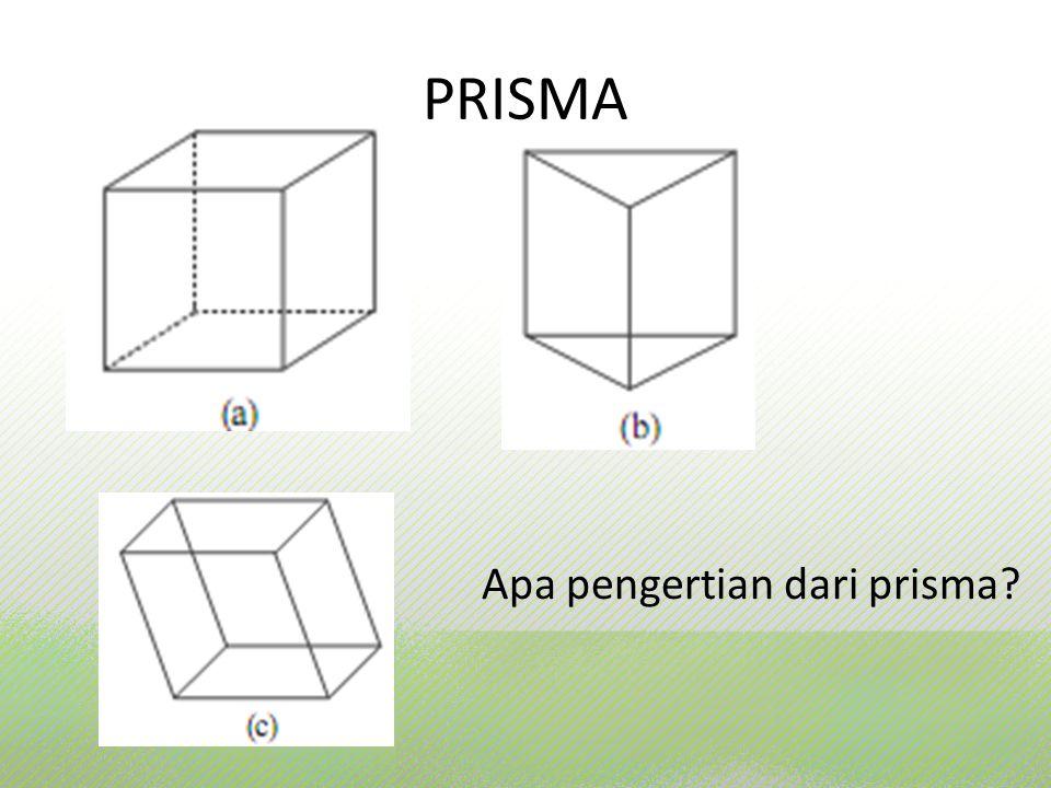 Prisma adalah bangun ruang yang dibatasi oleh bidang yang sejajar (bidang alas dan bidang atas) dan oleh bidang-bidang lain (bidang-bidang sisi) yang saling berpotongan menurut rusuk-rusuk yang sejajar.
