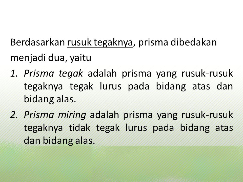 PRISMA Prisma tegak Prisma miring