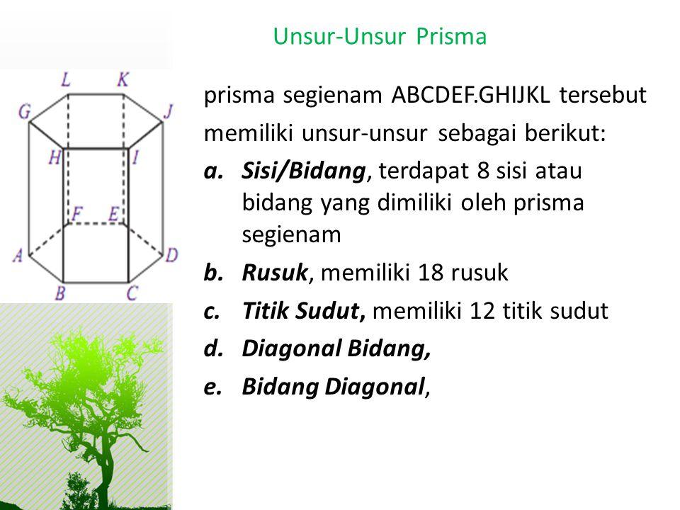 prisma segienam ABCDEF.GHIJKL tersebut memiliki unsur-unsur sebagai berikut: a.Sisi/Bidang, terdapat 8 sisi atau bidang yang dimiliki oleh prisma segi