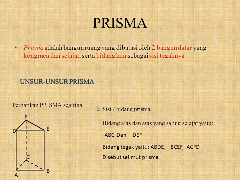 PRISMA P risma adalah bangun ruang yang dibatasi oleh 2 bangun datar yang kongruen dan sejajar, serta bidang lain sebagai sisi tegaknya UNSUR-UNSUR PRISMA Perhatikan PRISMA segitiga A D B C E F 1.